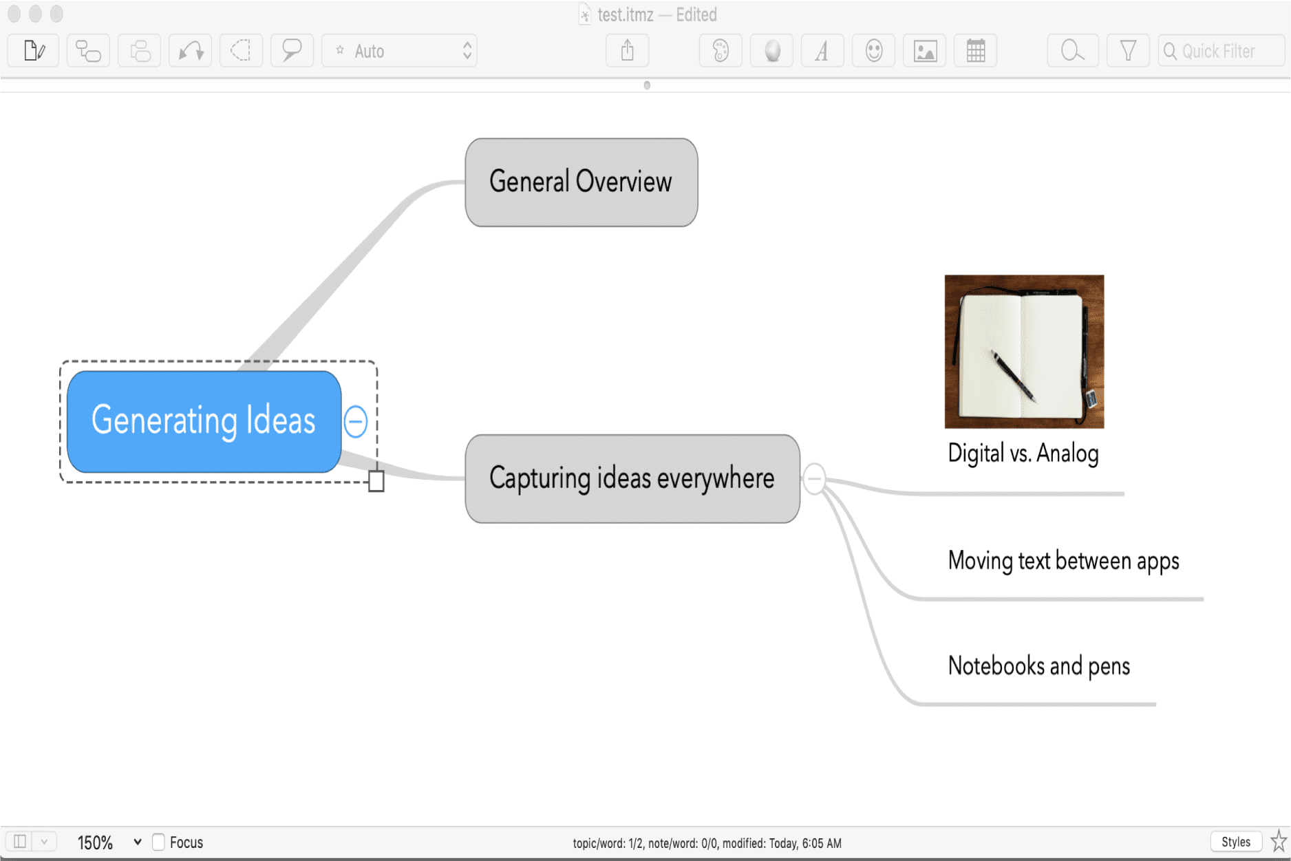 Screenshot of a mind mapping app.