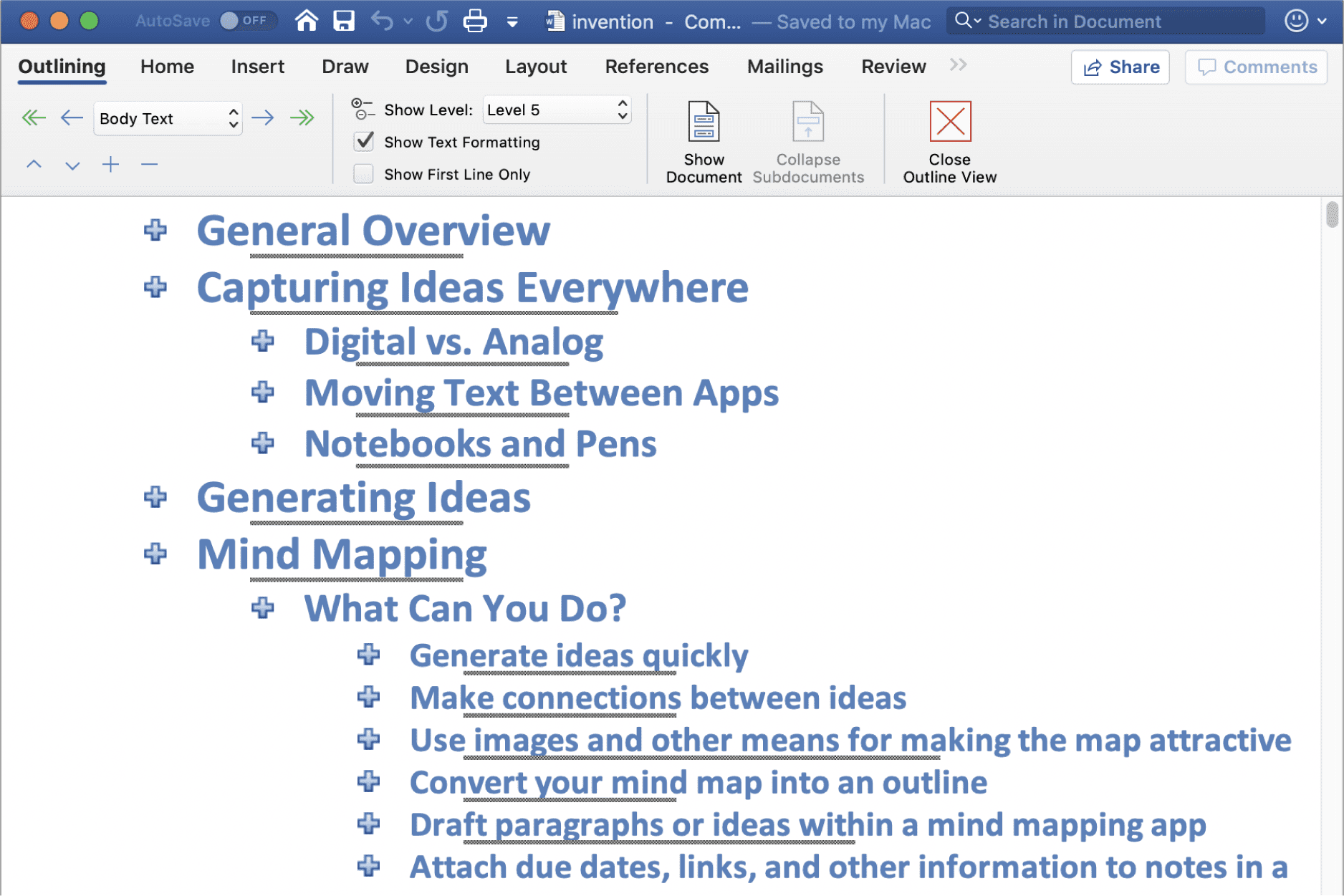 Screenshot of a Microsoft Word outline.
