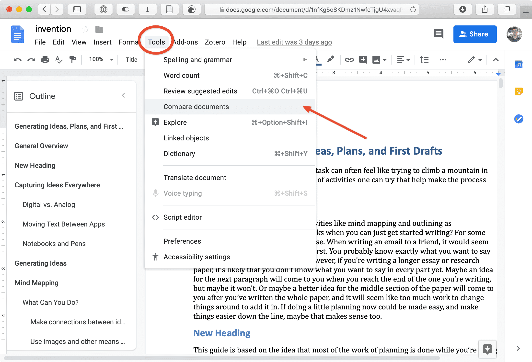 Finding the *compare documents* feature in Google Docs.