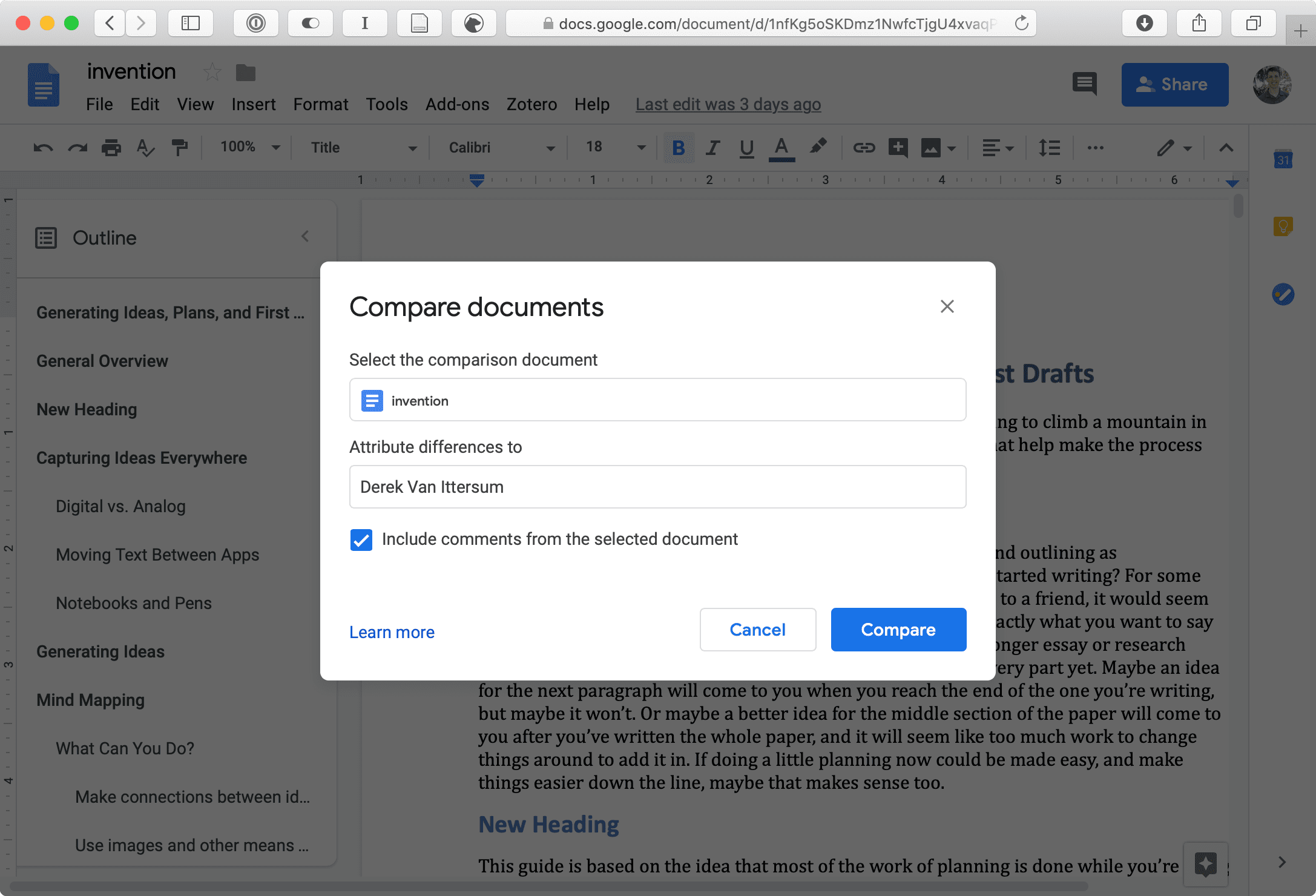 Comparing documents in Google Docs.