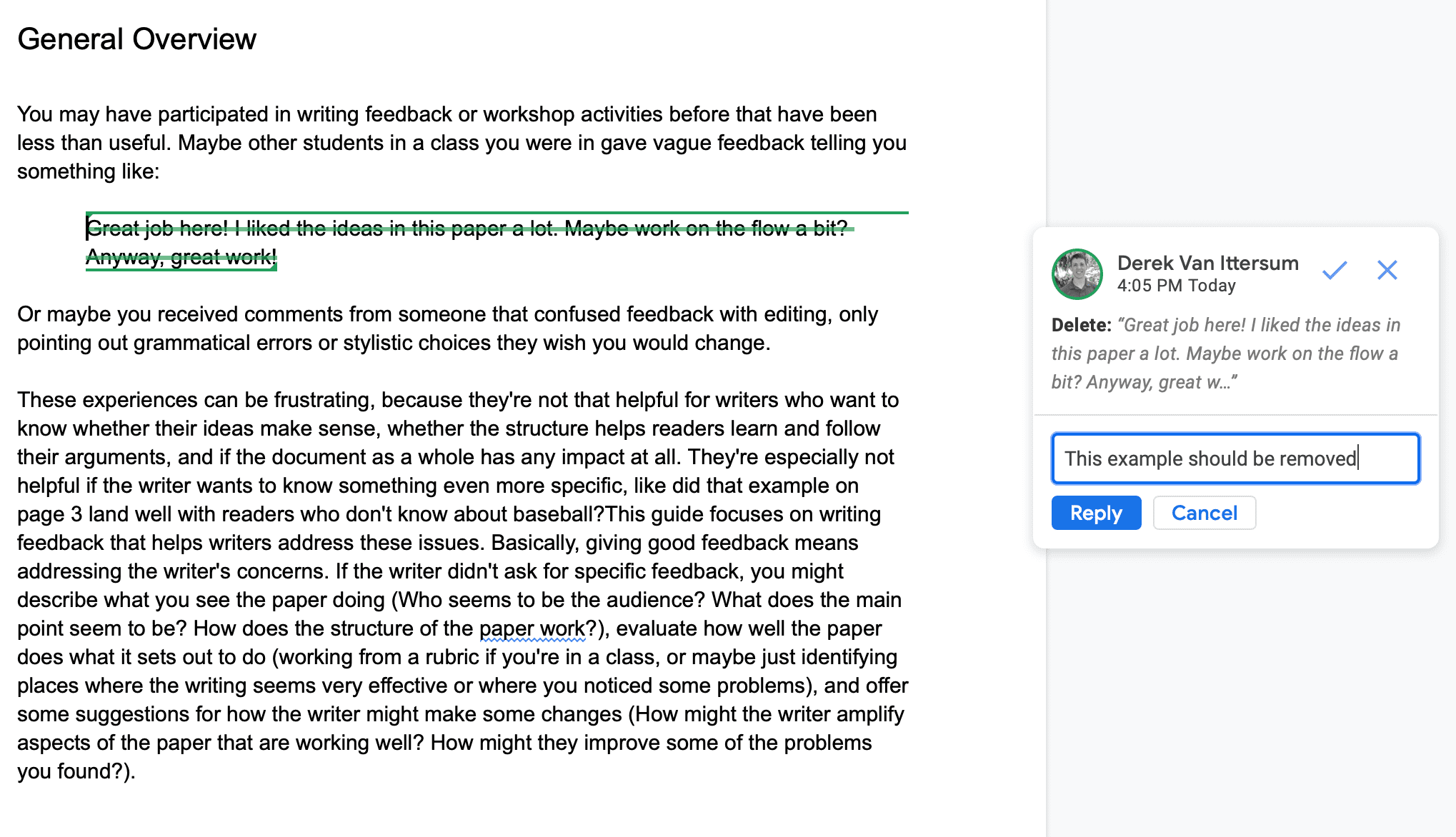 Screenshot of making a comment in response to a suggested change in Google Docs.