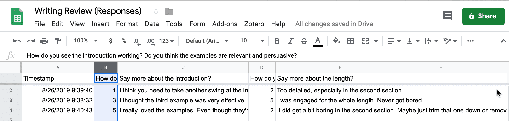 Screenshot of Google Spreadsheet of responses sorted by rating for one question.
