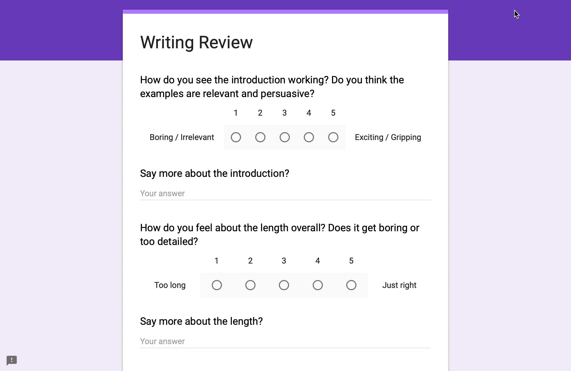 Screenshot of a Google Form to capture reader reviews.