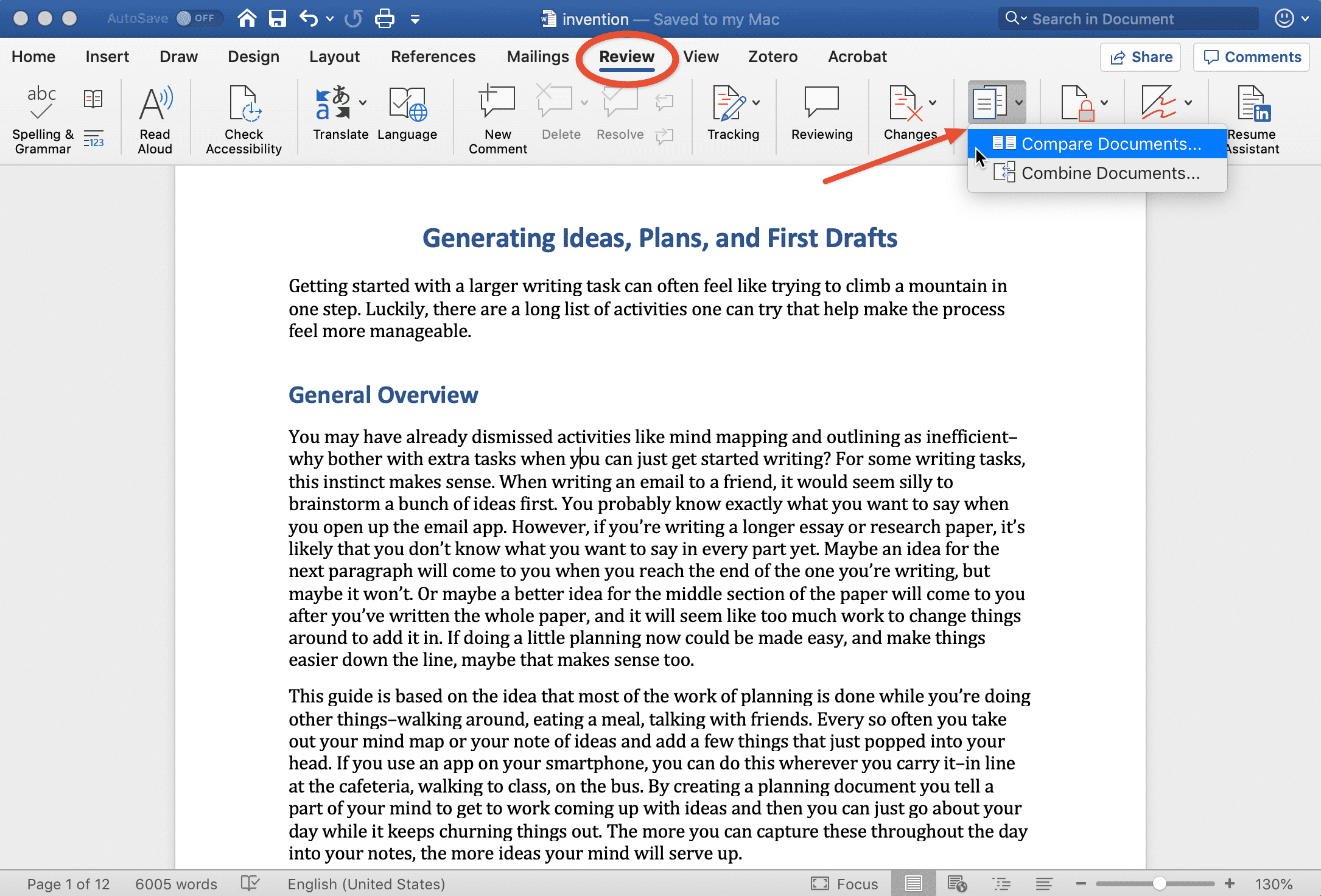 Finding the *compare documents* feature in Microsoft Word.