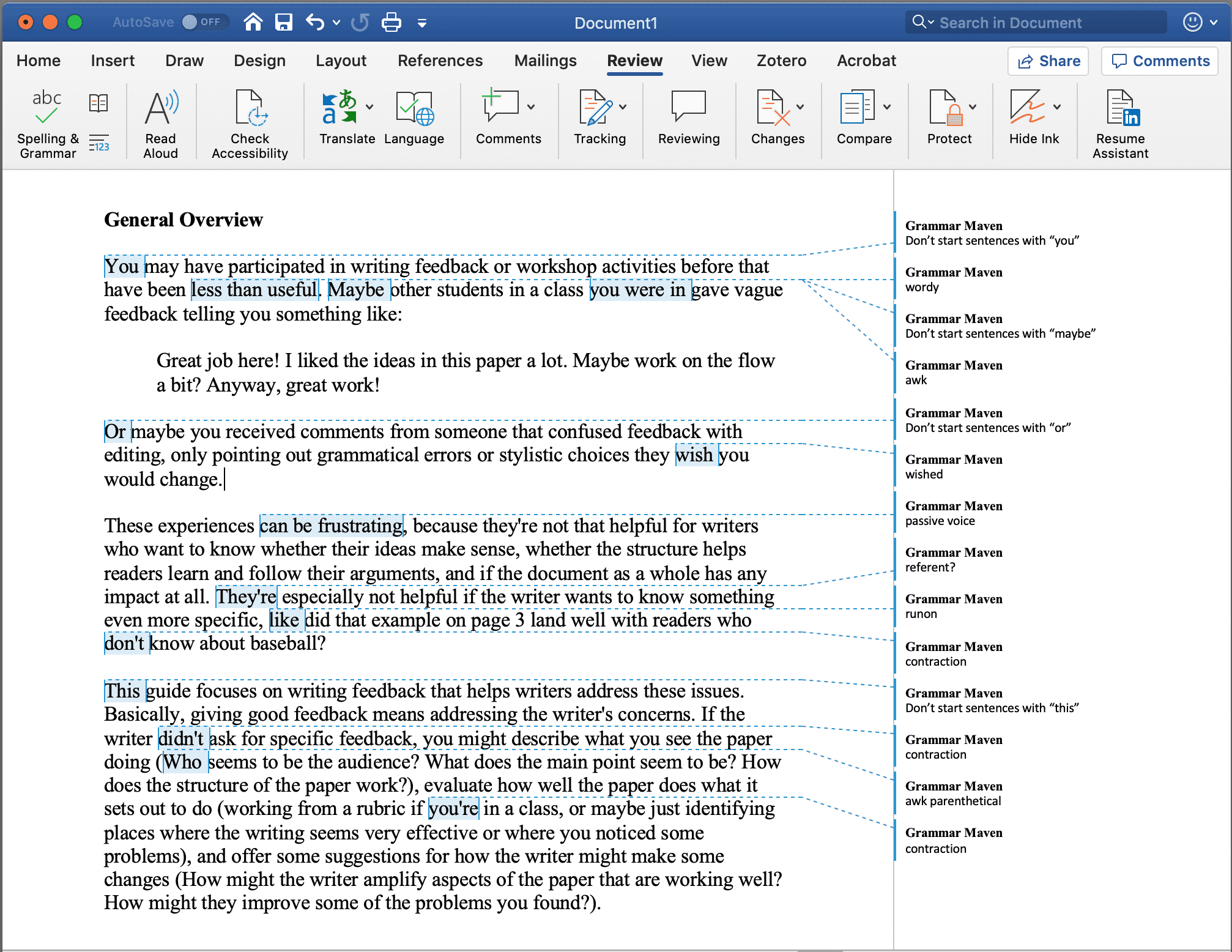 Screenshot of a Word file with comments made by a reviewer all about grammatical and stylistic issues.