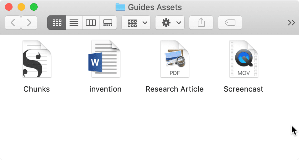 Screenshot of file icons on a Mac.